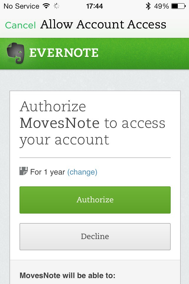 Authorising 3rd Party Apps with Passcode Lock on in Evernote