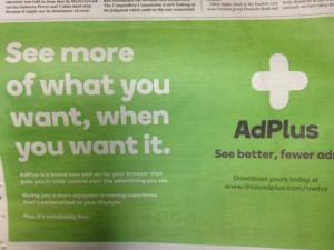 Adverts used to Publicise AdPlus Service